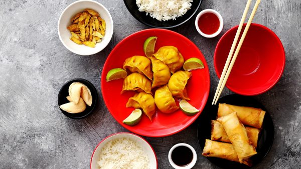 Chinese food set on stone table